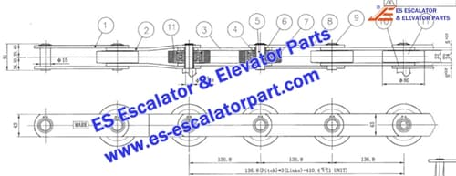 LG/SIGMA Escalator Parts Step Chain 136.8