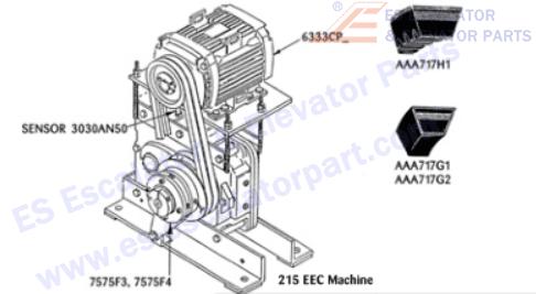 OTIS 6333CP15 Machines Motor 15 HP 1750 RPM