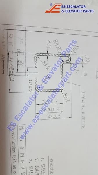 Thyssenkrupp 13717800 Reverse main incline track 42x42x5500m