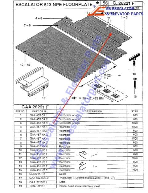 Escalator GAA453CA3 front cover