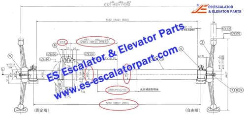 ESLG/SIGMA Escalator Parts DSA2000536A Handrail drive shaft
