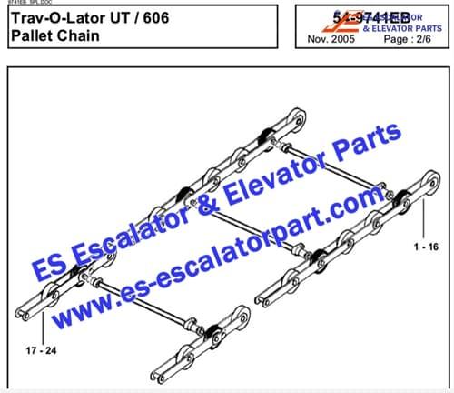 OTIS Escalator Parts GAA26350A Pallet chain 606 NCT