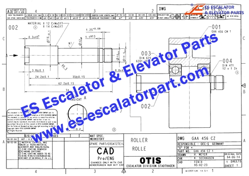 OTIS Escalator Parts GAA456CZ1 Handrail Wheel