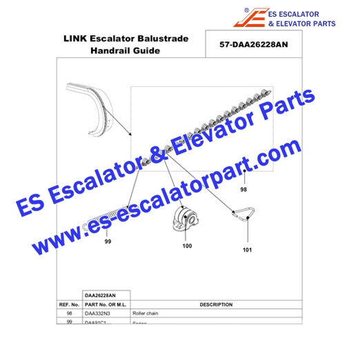 otis Escalator 506/510/513 DAA332N2 Newell roller