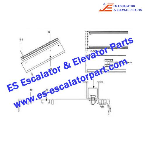 OTIS Escalator Parts XAA402AFW02 Handrail guide
