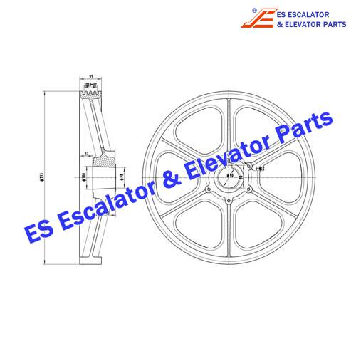 Escalator TAB260B15 TRACTION SHEAVE